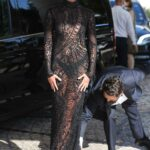 Taylor Hill in a Black Lace Dress Arrives at Hotel Martinez During the 74th Annual Cannes Film Festival in Cannes
