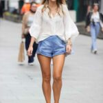Vogue Williams in a Blue Shorts Arrives at the Global Offices in London