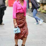 Zoe Hardman in a Pink Shirt Leaves the Heart Radio in London