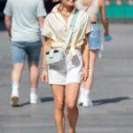 Zoe Hardman in a White Shorts Leaves the Global Studios in London