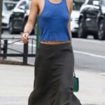 Zoe Kravitz in a Blue Tank Top Goes for Lunch in New York