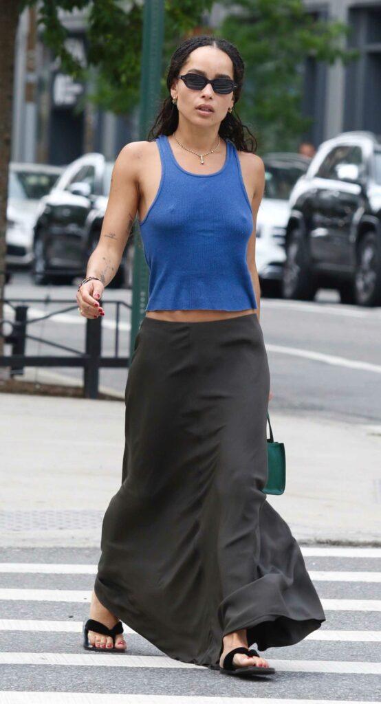 Zoe Kravitz in a Blue Tank Top