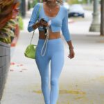 Alessandra Ambrosio in a Baby Blue Leggings Arrives to a Pilates Class in Los Angeles