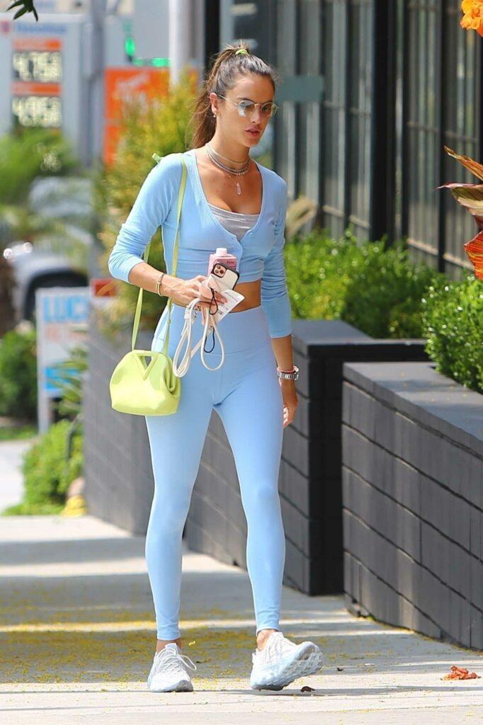 Alessandra Ambrosio in a Baby Blue Leggings
