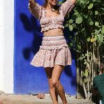 Alessandra Ambrosio in a Floral Ensemble Does a Photoshoot in Trancoso, Brazil