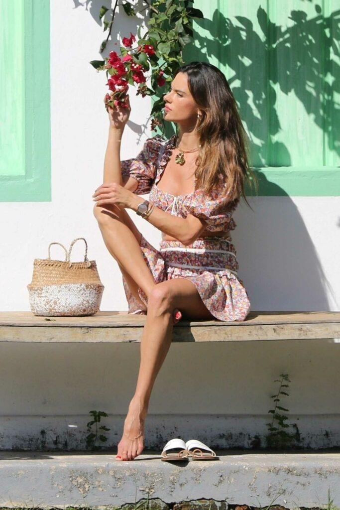 Alessandra Ambrosio in a Floral Ensemble