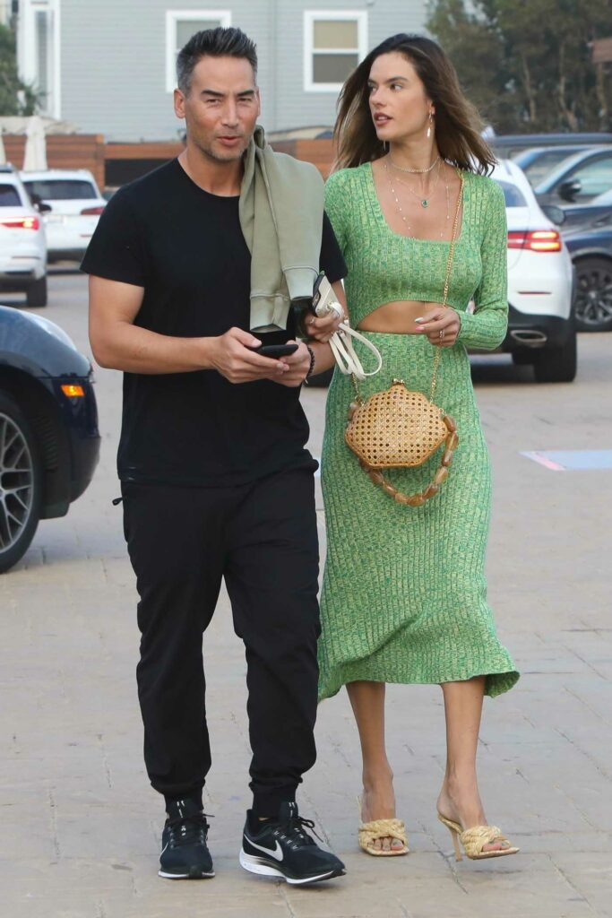 Alessandra Ambrosio in a Green Suit