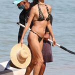 Alessandra Ambrosio in a Zebra Print Bikini on the Beach in Trancoso in Brazil