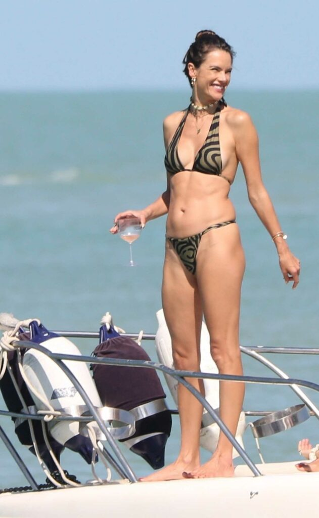 Alessandra Ambrosio in a Zebra Print Bikini