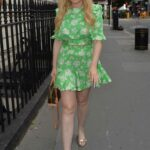 Amy Hart in a Green Floral Mini Dress Heads for Dinner with Friends in Mayfair, London