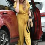 Amy Hart in a Yellow Polka Dot Jumpsuit Heads for Lunch with Friends in Portsmouth