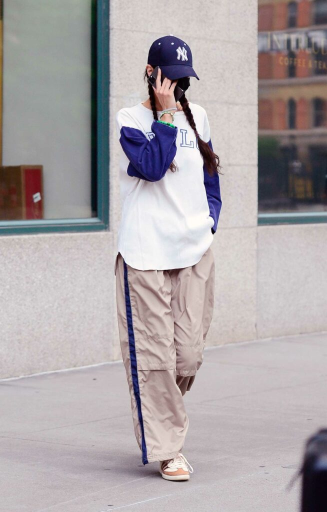 Bella Hadid in a Beige Pants