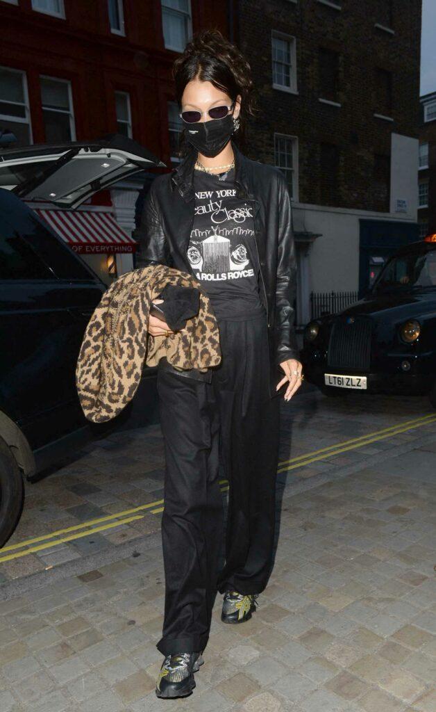 Bella Hadid in a Black Leather Blazer