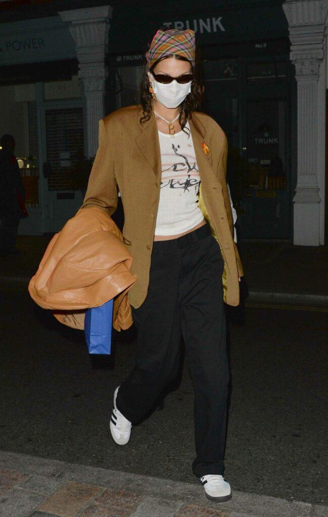 Bella Hadid in a Tan Blazer