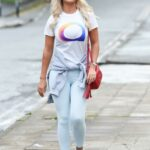 Christine McGuinness in a White Tee Takes Part in The Manchester Spectrum 5k Night Charity Walk for The National Autistic Society in Manchester