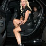 Denise Van Outen in a Black Outfit Arrives at the Proud Embankment Cabaret in London