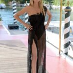 Heidi Klum in a Black See-Through Dress Was Spotted Out in Venice