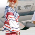 Jennifer Lopez in a Patterned Pantsuit Leaves St. Tropez