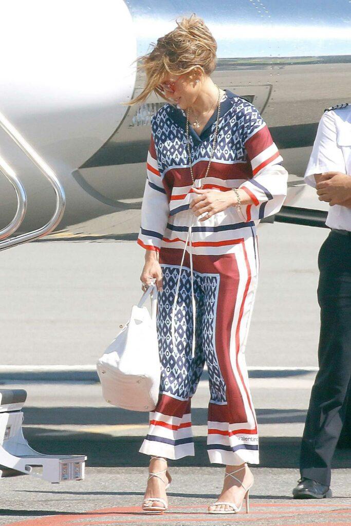 Jennifer Lopez in a Patterned Pantsuit