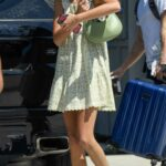 Kaia Gerber in a Floral Green Mini Dress Was Seen Out in Los Angeles