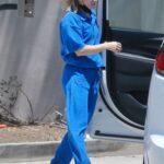Kristen Bell in a Blue Sweatsuit Stops By a Friend's House in Los Feliz