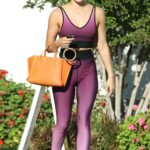 Lucy Hale in a Purple Workout Ensemble Leaves a Yoga Class in Los Angeles