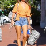 Alessandra Ambrosio in an Orange Blouse Goes shopping in Brentwood