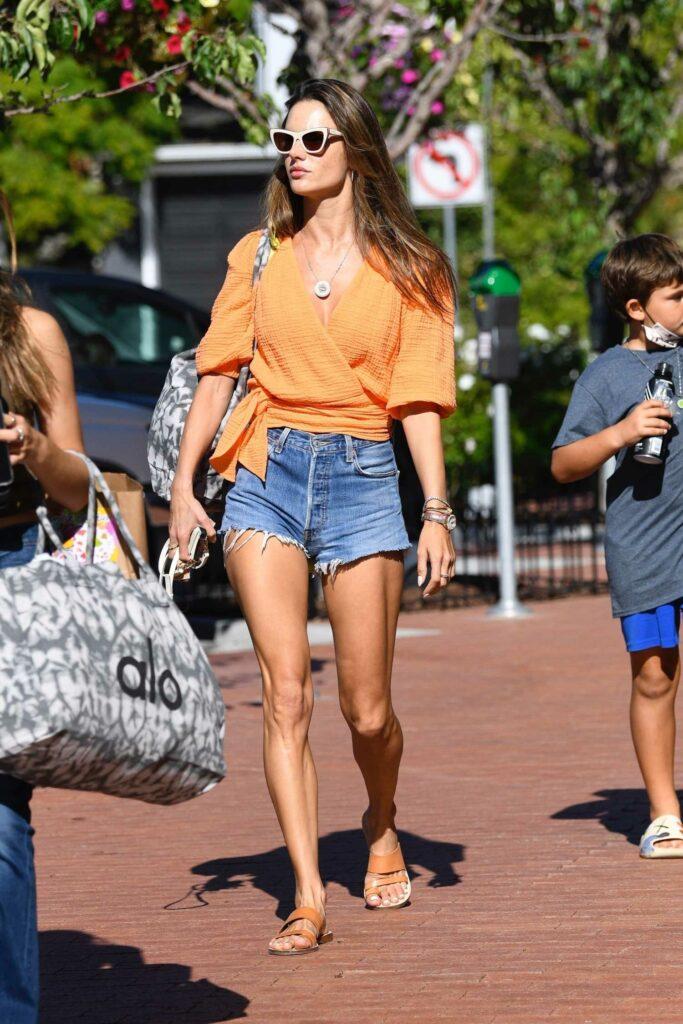 Alessandra Ambrosio in an Orange Blouse