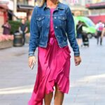 Amanda Holden in a Blue Denim Jacket Arrives at the Heart Radio in London