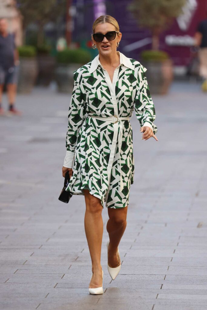 Ashley Roberts in a White and Green Patterned Dress