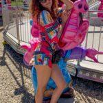 Blanca Blanco in a Colorful Shorts Jumpsuit Attends the 39th Annual Malibu Chili Cook-Off Fair in Malibu