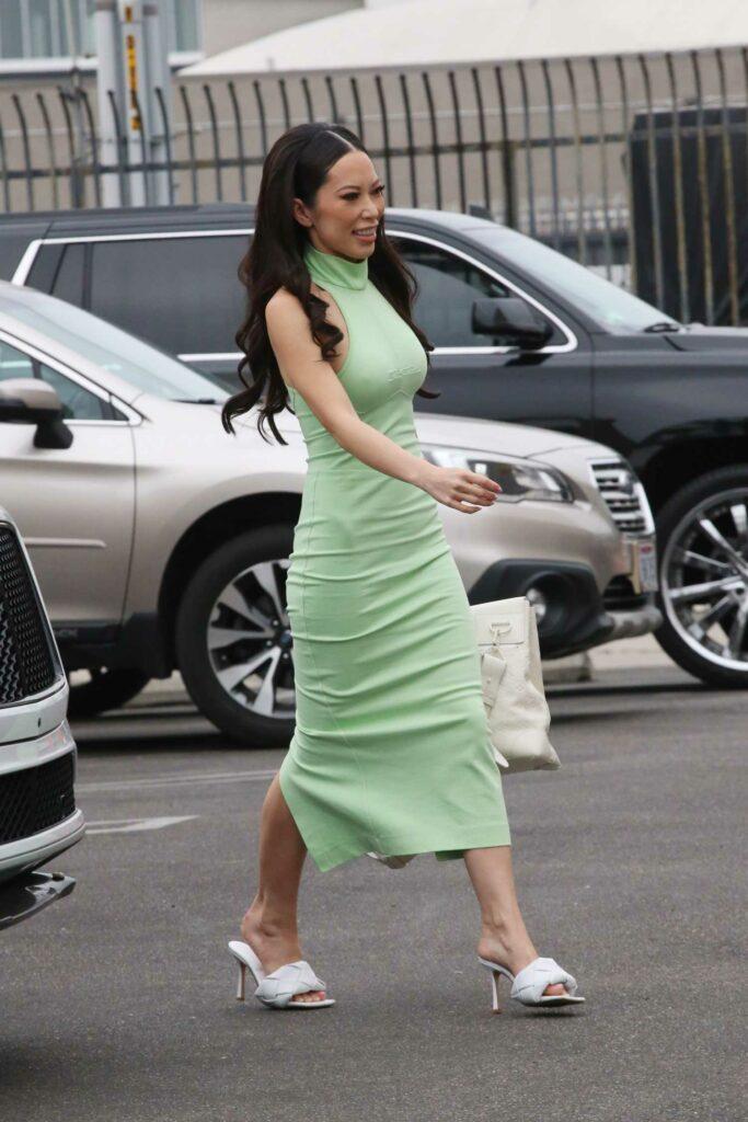 Christine Chiu in a Lime Dress