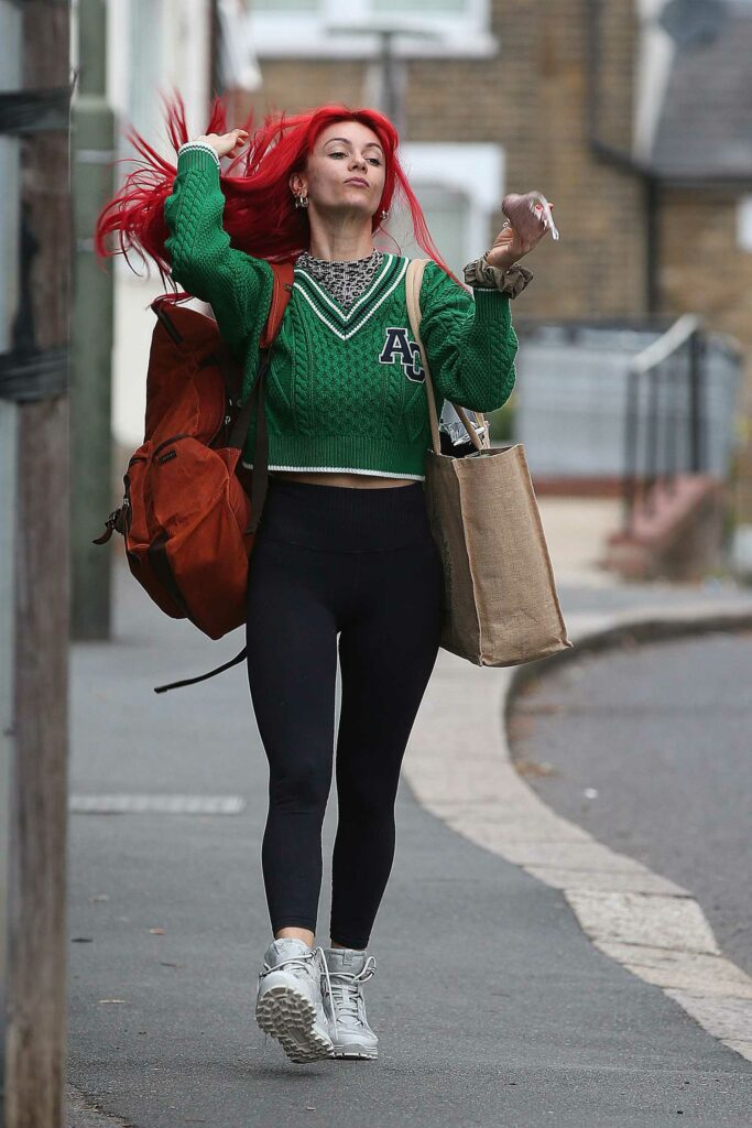 Dianne Buswell in a Green Sweater