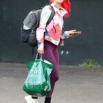 Dianne Buswell in a Purple Leggings Leaves the Strictly Come Dancing Rehearsals Studio in London