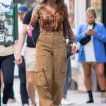 Hailee Steinfeld in a Beige Pants Walks Her Dog in SoHo in New York City