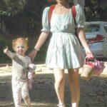 Kate Mara in a White Sneakers Takes Her Daughter to the Park in Los Feliz