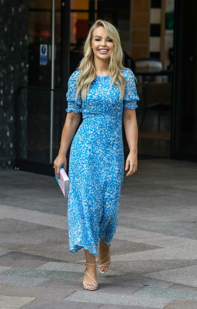 Katie Piper in a Blue Patterned Dress