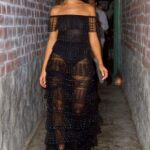 Olivia Culpo in a Black See-Through Dress Leaves Dinner in West Hollywood