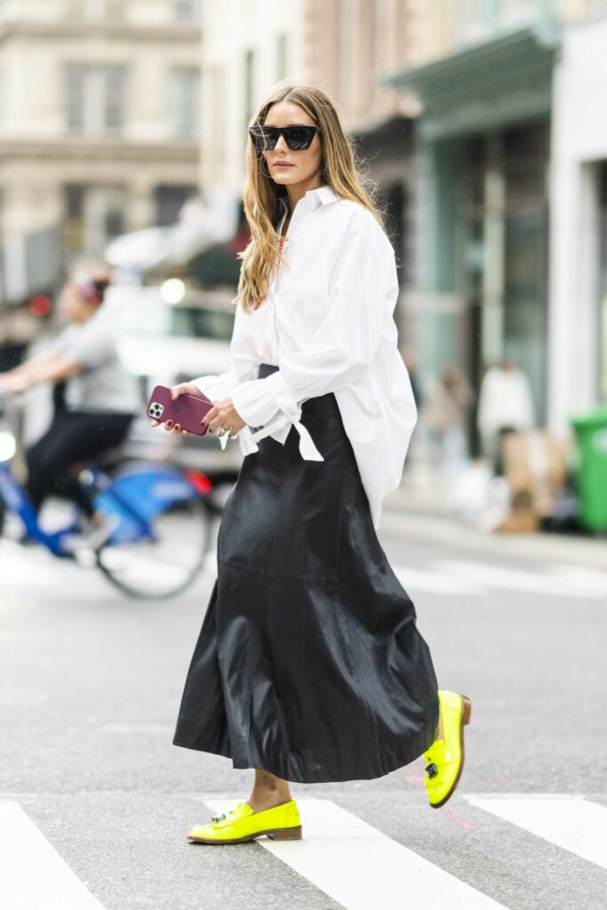 Olivia Palermo in a Black Leather Skirt