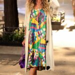 Sarah Jessica Parker in a Beige Cardigan on the Set of the And Just Like That in Manhattan, NYC
