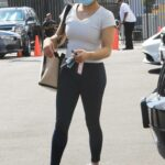 Suni Lee in a White Tee Arrives for Dance Practice at the DWTS Studio in Los Angeles