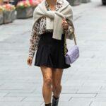 Zoe Hardman in a Black Mini Skirt Leaves the Global Studios in London