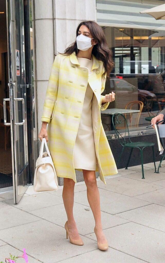 Amal Alamuddin in a Yellow Coat