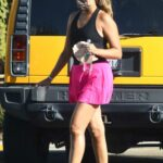 April Love Geary in a Lilac Mini Skirt Was Seen Out in Los Angeles