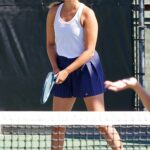 April Love Geary in a White Tank Top Plays Tennis with Friends in Calabasas