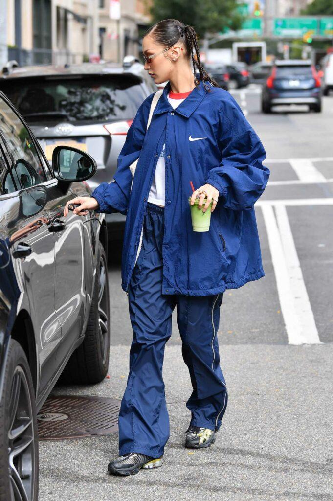 Bella Hadid in a Blue Nike Jacket