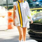 Bella Hadid in a White Oversized Polo Was Seen Out in New York