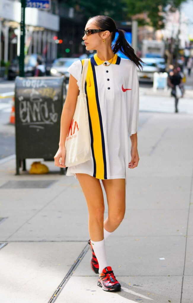 Bella Hadid in a White Oversized Polo