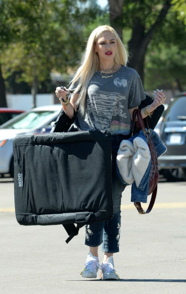 Gwen Stefani in a Grey Tee