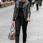 Jenni Falconer in a Black Leather Jacket Leaves the Global Studios in London